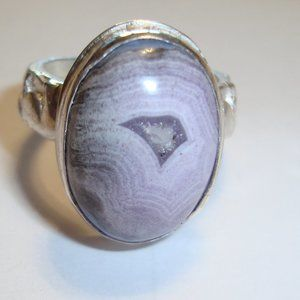 Natural Agate Gemstone and Sterling Silver Ring